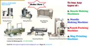 Purchase All type of Snacks Making Machine,  Pouch Packing Machine,  Mug